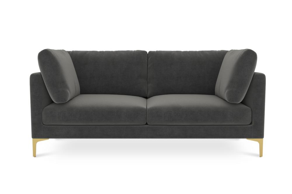 Adams 2 Seater Sofa, Moon Grey (Brass Leg)