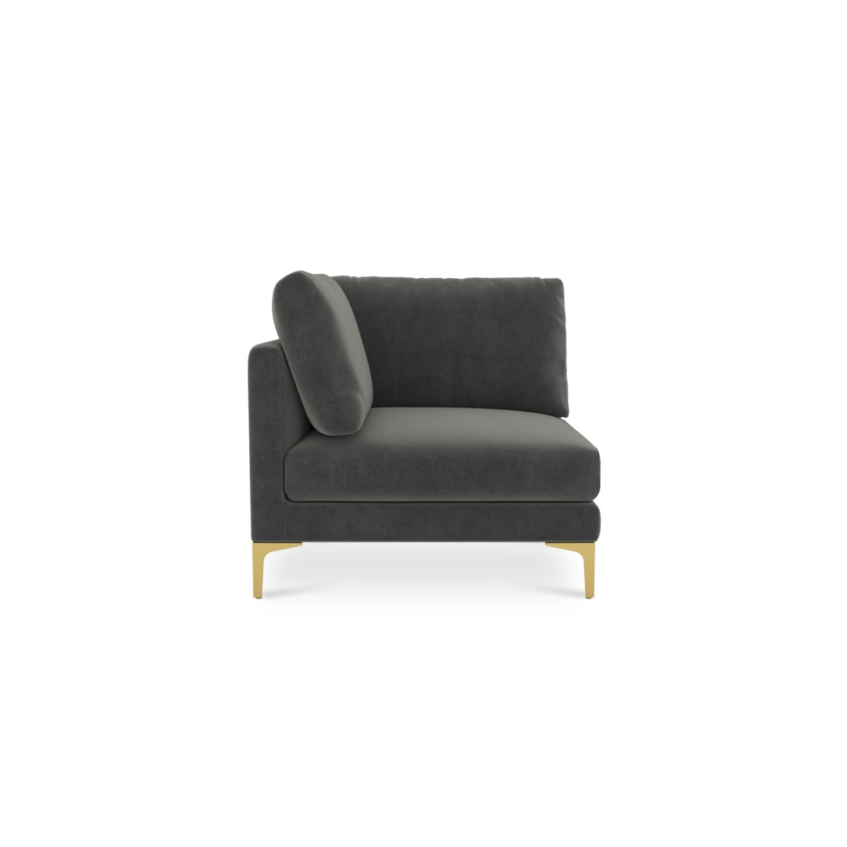 Adams Corner Sofa, Moon Grey (Brass Leg)