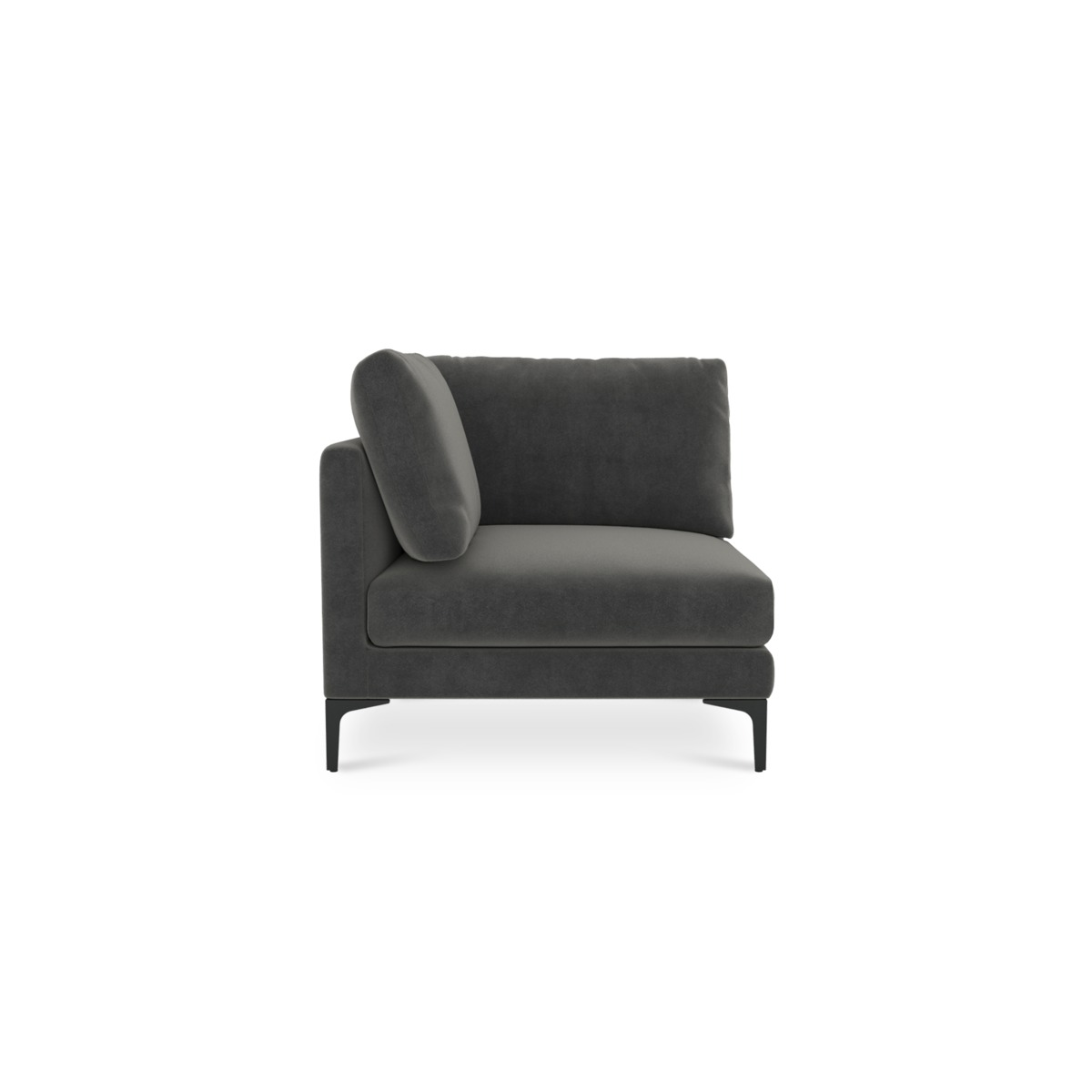 Adams Corner Sofa, Moon Grey (Black Leg)