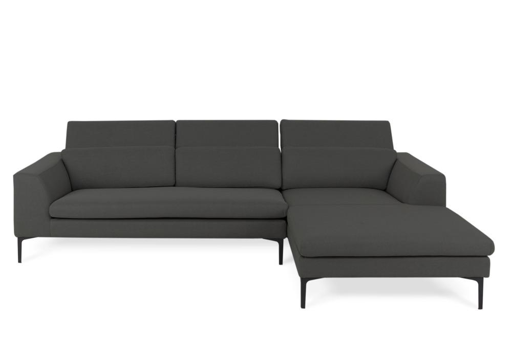 Hugh Sofa Sectional Iron Grey Right Facing Castlery