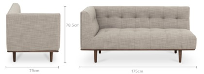 dimension of Jeanne Left Facing 2 Seater Sofa