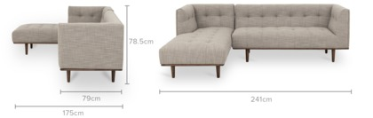 dimension of Jeanne Sectional Chaise Sofa
