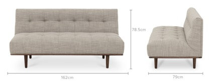 dimension of Jeanne Armless 2 Seater Sofa