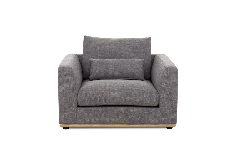 Alfie Armchair (Natural), Checked Grey