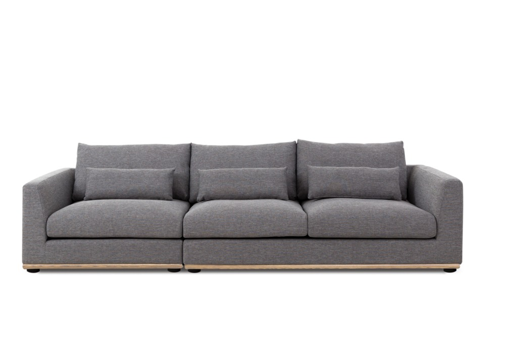 Alfie 3 Seater Sofa Left Facing, Checked Grey (Natural)