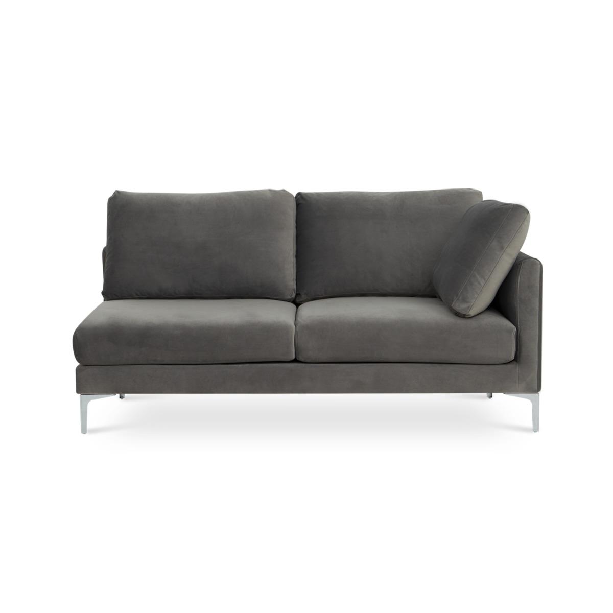 Adams 2-Seater Right Facing, Fog Grey Velvet (Silver Leg)
