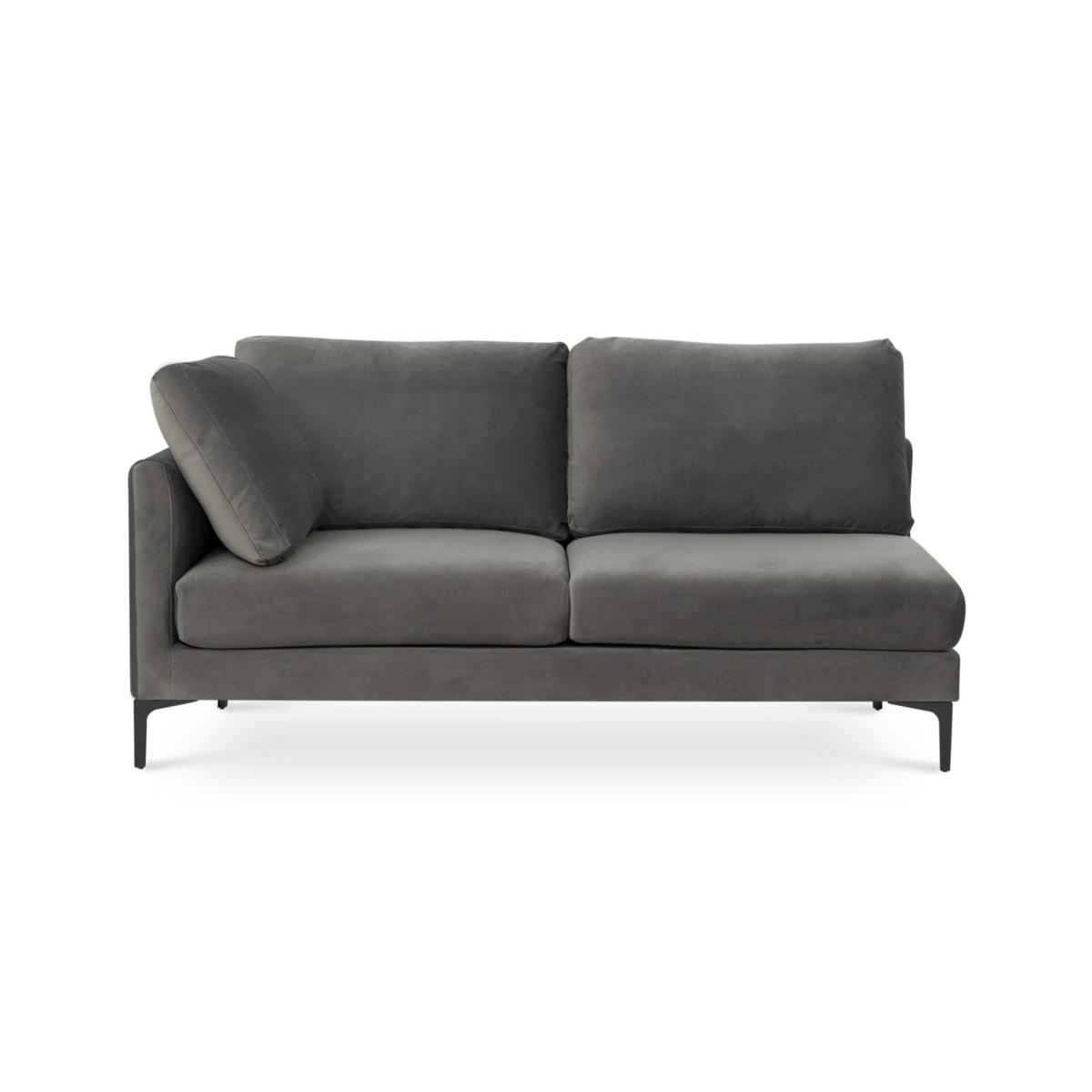 Adams 2-Seater Left Facing, Fog Grey Velvet (Black Leg)