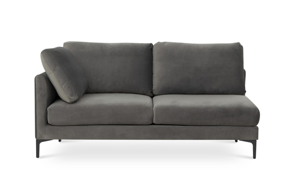 Adams 2-Seater Left Facing, Fog Grey Velvet (Black Leg)