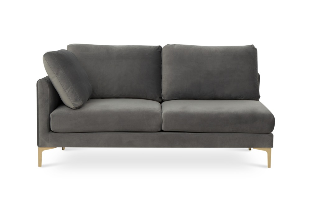 Adams 2-Seater Left Facing, Fog Grey Velvet (Brass Leg)