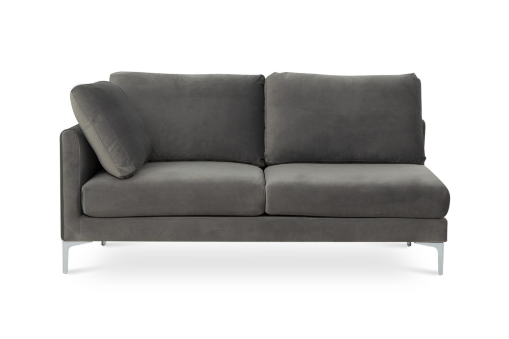 Adams 2-Seater Left Facing, Fog Grey Velvet (Silver Leg)