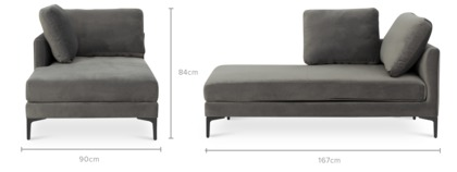 dimension of Adams Left Chaise