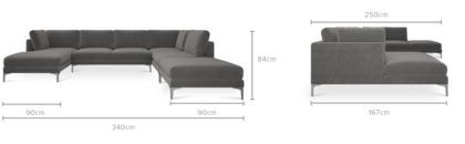 dimension of Adams U-Shape Sectional Sofa with Chaise