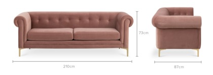 dimension of Ines 3 Seater Sofa
