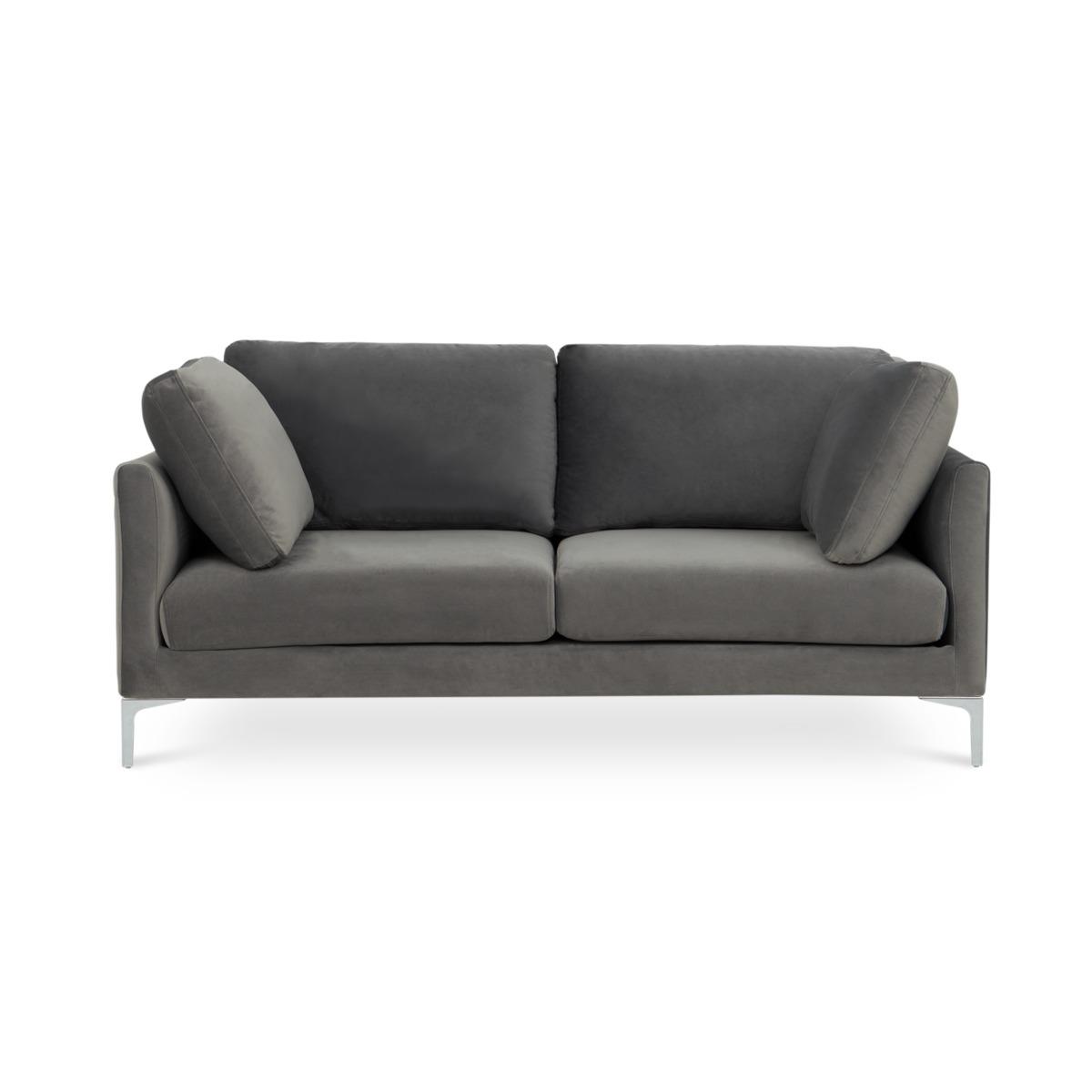 Adams 2 Seater Sofa, Fog Grey Velvet (Silver Leg)