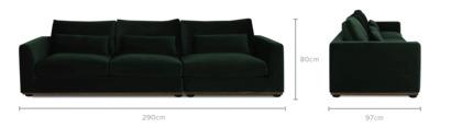 dimension of Alfie 3 Seater Sofa