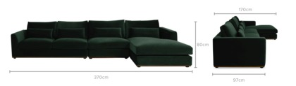 dimension of Alfie Extended Chaise Sectional Sofa