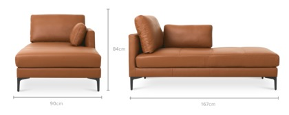 dimension of Adams Right Chaise Leather