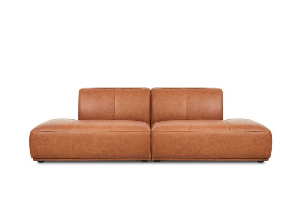 Todd Chaise Sofa Leather Saddle Tan Castlery Australia