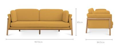dimension of Bambu 3 Seater Sofa