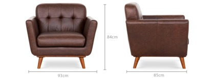 dimension of Hans Armchair Leather