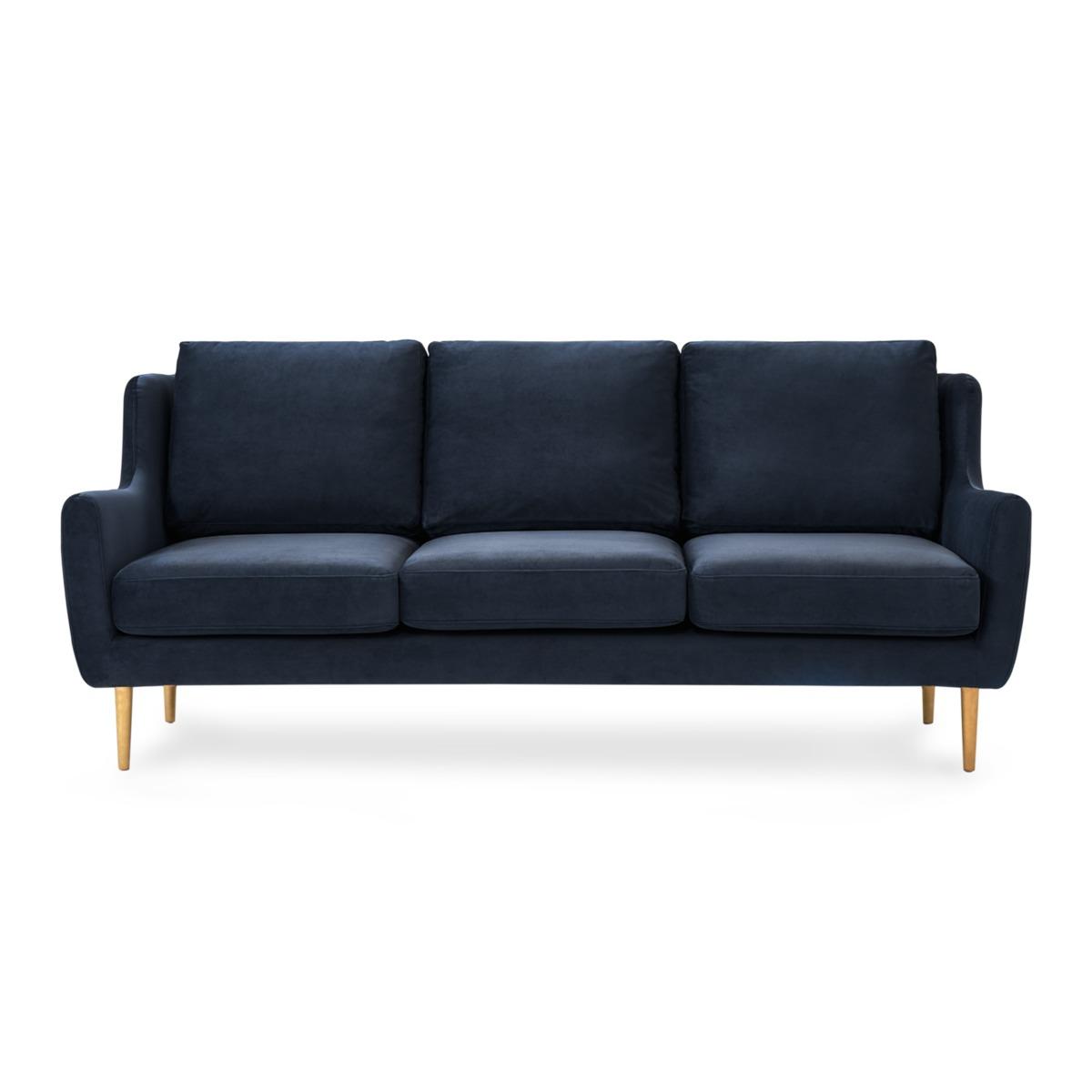 Adelphi 3 Seater Sofa, Midnight Blue Velvet