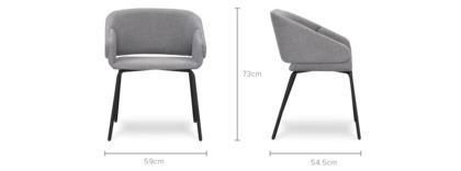 dimension of Dylan Chair, Metal Leg