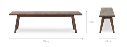 dimension of Vick Dining Bench