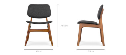 dimension of Joshua Chair, 2 Pairs