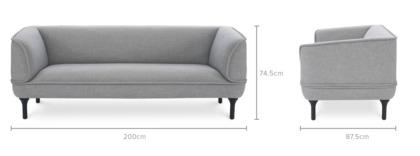 dimension of Bickerton 3 Seater Sofa