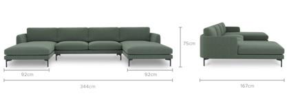 dimension of Pebble C-Shape Sectional Sofa