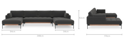 dimension of Ethan C-Shape Sectional Sofa