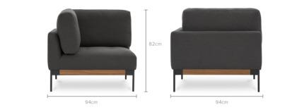 dimension of Ethan Corner Sofa