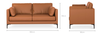 dimension of Adams 2 Seater Sofa Leather