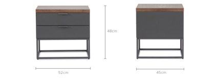 dimension of Alfred Bedside Table