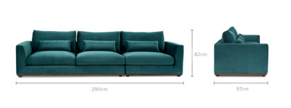 dimension of Alfie Extended Sofa