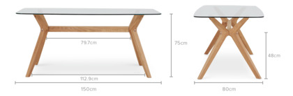 dimension of Bess Dining Table