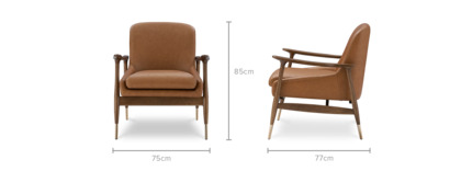dimension of Desmond Armchair Leather
