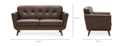 dimension of Hans 2 Seater Sofa Leather