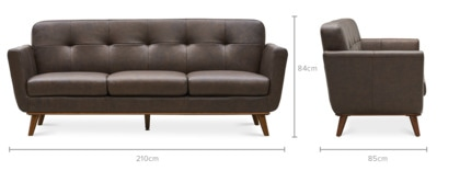 dimension of Hans 3 Seater Sofa Leather