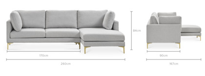 dimension of Adams Chaise Sectional Sofa