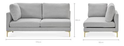 dimension of Adams Left Facing 2 Seater Sofa