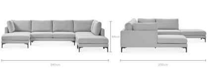 dimension of Adams U-Shape Sectional Sofa with Ottoman