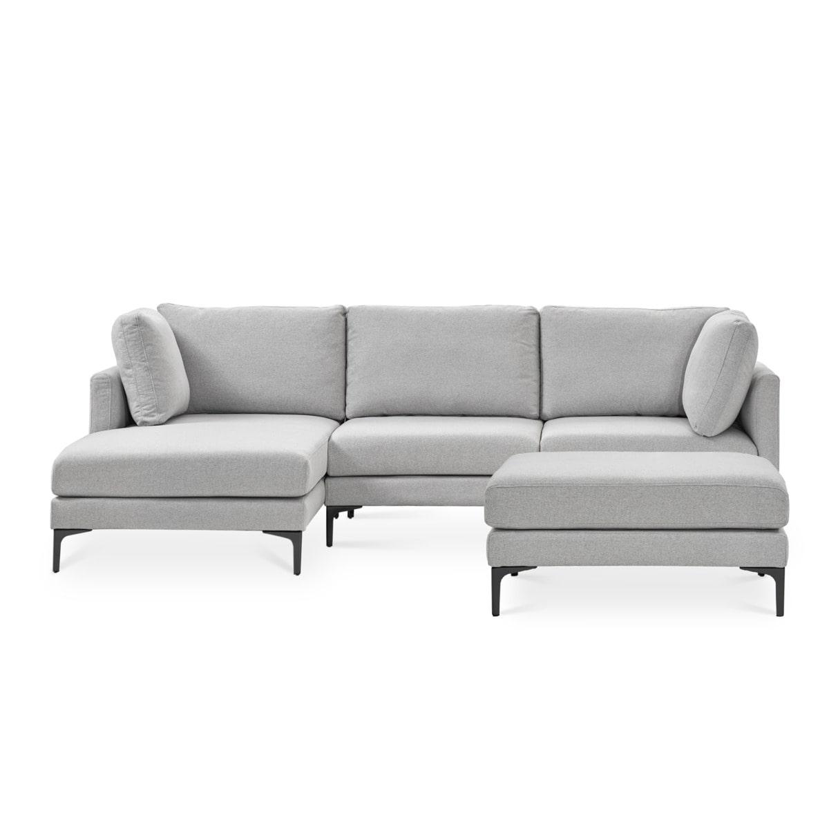 Adams Chaise Sectional Sofa Left Facing with Ottoman Dove Grey, Black Leg