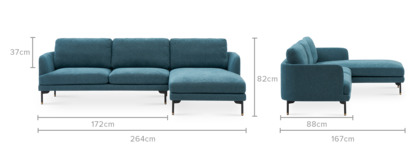 dimension of Pebble Chaise Sectional Sofa