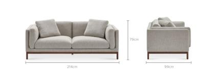 dimension of Owen 3 Seater Sofa, Walnut
