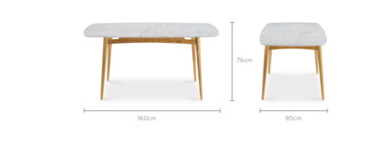 dimension of Kelsey Marble Dining Table, Natural Ash