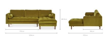 dimension of Madison Chaise Sectional Sofa with Ottoman