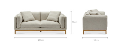 dimension of Owen 3 Seater Sofa, Natural