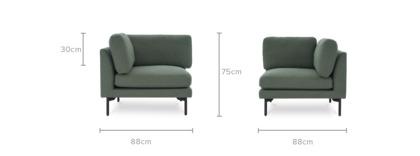 dimension of Pebble Corner Sofa