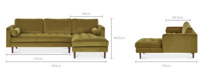 dimension of Madison Chaise Sectional Sofa